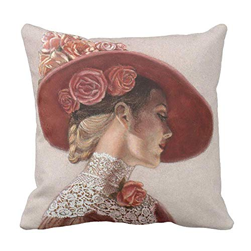 (AUUOCC Elegant Victorian Lady Art Floral Roses Hat Throw Pillow Cushion Cover 18x18 Inch 45x45cm Colorful)