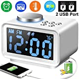 """radio with temperature display - Duperym Radio Alarm Clock Digital FM Clocks Radio with 2 USB Phone Charging Port for iPhone Android 12H/24H - 3.2"""" LCD Display 6 Dimmer for Girl Men Travel Bedrooms Kitchen Office Father's Day Gift"""