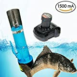 CAIDU Lithium Ion Cordless Fish Skin Scaler, Waterproof 1500mA Battery Descaler Fish Scale Scraper Knife, C.W./Anti-Clock Rotating Electric Fish Scales