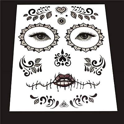 Kit de Pegatinas Calavera de Azúcar Tatuaje de Cara Autoadhesivo ...
