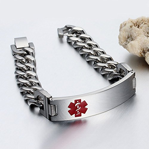 Lam Hub Fong 8.5 Inches Free Engrave Emergency Medical Bracelets for Men Women Alert ID Bracelets For Adults Titanium Steel Medical Alert Bracelets For Men by Lam Hub Fong (Image #3)