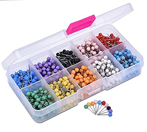 JoyFamily 1000 PCS Map Tacks Push Pins Plastic Round Head with Steel Point,1/8 Inch ( Assorted - Detail Map