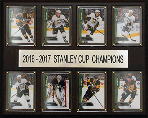 (C&I Collectables NHL Pittsburgh Penguins Men's 2016-2017 Stanley Cup Champions 8-Card Plaque, Brown)