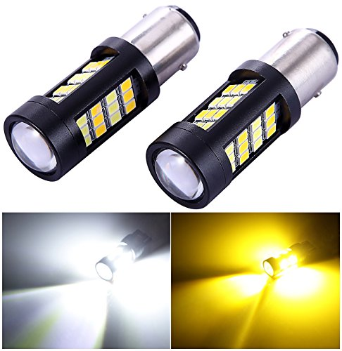 1157 2057 2357 7528 Turn Signal White/Gold Switchback LED Light Bulbs 42 Epistar 2835 SMD chipsets with Projector, for Standard Socket, Not CK- Pair of 2 (Gold Accord)