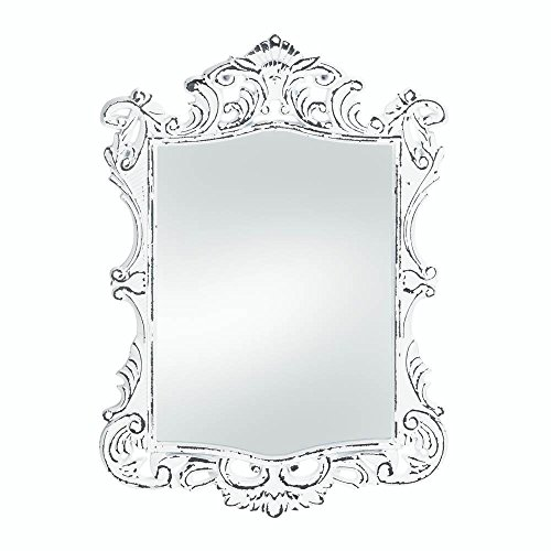 (Bathroom Wall Mirrors, Framed Cool Modern Rustic Regal White Etched Wall Mirror)