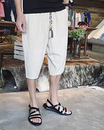 lannister Coulisse Colore Di 3 Qk Comodi 4 Lino A Da Beige Solido Leggero Con Allentati Spiaggia Ragazzo Uomo Pantaloni dqwaq78