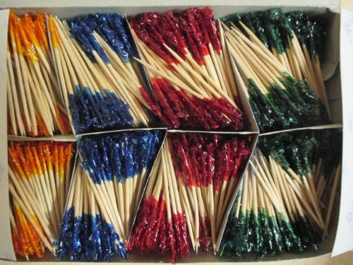 Frilled Toothpicks Party Accessory 2 1/2'' 1000/case Assorted Colors