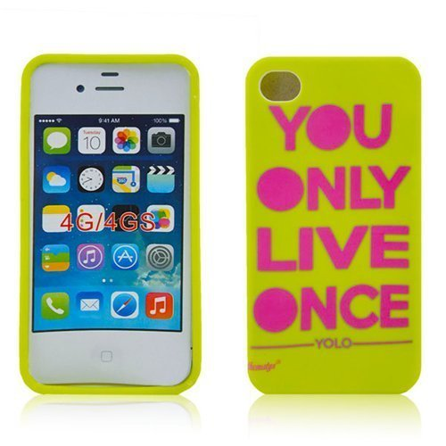 Apple iPhone 44S Coque de protection Yolo You Only Live Once Design Housse en silicone TPU Case Housse Etui Bumper thematys®