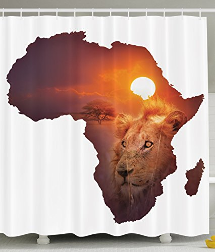 Ambesonne Safari Decor African Art Wildlife Shower Curtain Continent Lion Sunset Digital Print High Resolution Picture Photography Brown and White Shower Curtains