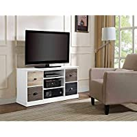Altra Mercer Storage TV Console with Multicolored Door Fronts for TVs up to 48, Multiple Colors Interchangeable knobs 3 open shelves hold Product Dimensions (L x W x H): 47.48 x 15.75 x 25.00 Inches