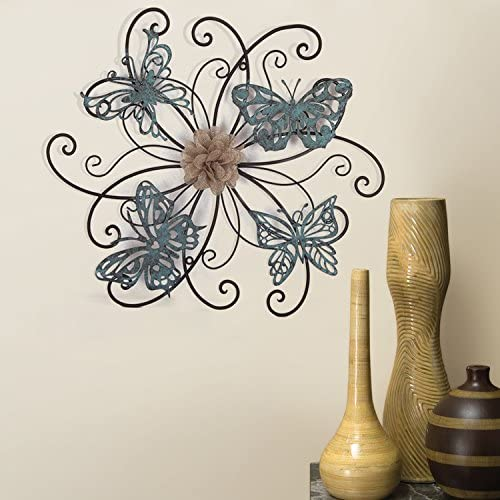 Asense Home Decorative Fabric Metal Butterfly Wall Decor