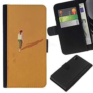 KingStore / Leather Etui en cuir / Sony Xperia Z2 D6502 / Significado Profundo Sola Chica Redhead