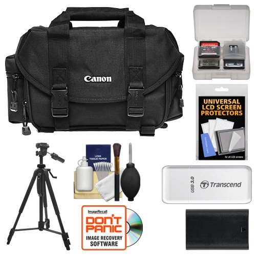 Canon 2400 Digital SLR Camera Case - Gadget Bag + LP-E6 Battery + Tripod + Accessory Kit EOS 80D, 6D 7D 5D Mark II III IV, 5DS R by Canon