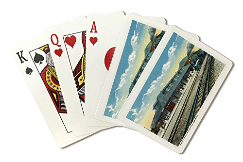 Lewiston, Maine - Exterior View of the Maine Central Railroad Station (Playing Card Deck - 52 Card Poker Size with Jokers)