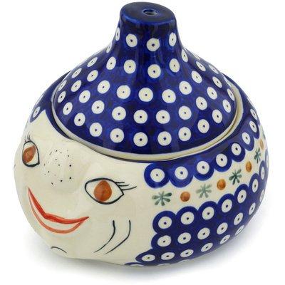 Polish Pottery Garlic and Onion Jar 9-inch Mosquito by Polmedia Polish Pottery