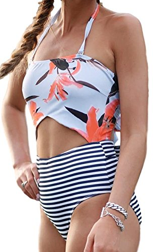 EVELUST Women's One-Piece Cut Out Floral Swimwear,Two Back Bows Tie High Waist (Back Bottom Tie)