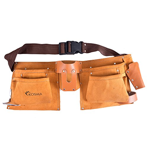 Kosma 11 Pocket D.I.Y. Carpenter Leather Apron | Electrician Pouch | Tool Belt by Kosma
