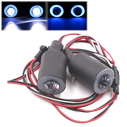 Kalevel RC Car Lights 2 LED RC Truck Headlights Taillights Halo RC Car LED Lights Kits Accessories 1/10 LED Lights for RC Car Trucks Tank Tamiya Axial Hsp Kyosho Hpi ()
