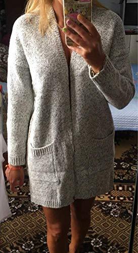 Manica Beading Autunno Moda Con Cappotto Comodo Giovane Grau Eleganti 1 Di Giacca Casuali Primaverile A Calda Maglioni Lunga Maglia Donna Cardigan pxvqI1wv0