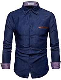 Men's Casual Dress Shirt Button Down Jeans Shirts Fashion Denim Shirt