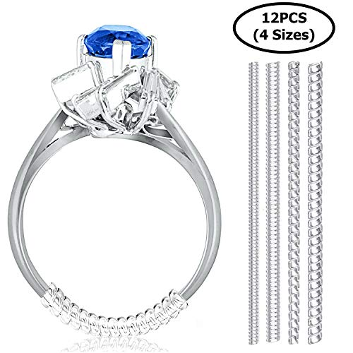 Set of 12 Ring Size Adjuster for Loose Rings | 4 Sizes - 2mm/ 3mm/ 4mm/ 5mm | Ring Fitter, Sizer, Clear Spiral Silicone Tightener | Fits Men and Women Rings | with Jewelry Polishing Cloth (For Ring Noodle Bands Wide)
