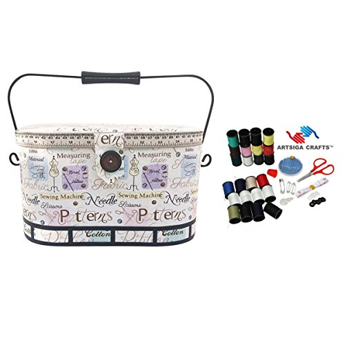 Cheap Dritz Sewing Basket Large Oval Metal Handle (12 L x 8.75 W x 7.5 H) Sewing Notions in Lt Cr...