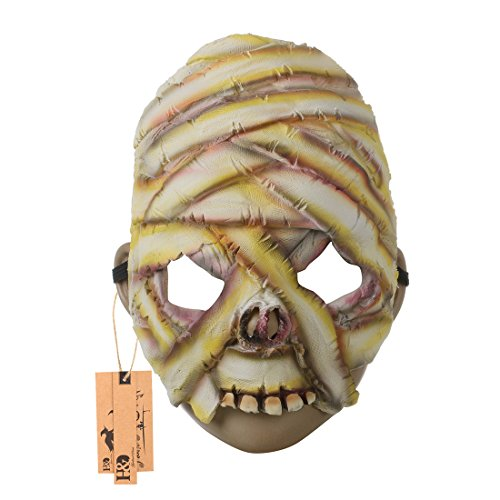 Hyaline&Dora Evil Mummy Mask,Halloween Latex Creepy Mummy Mask for Adults,Halloween Costume Party Cosplay -
