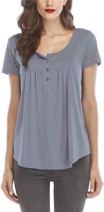 Women's Short Sleeve Round Spilt Neck Pleated Button Details Tunic Shirt Top( / S)