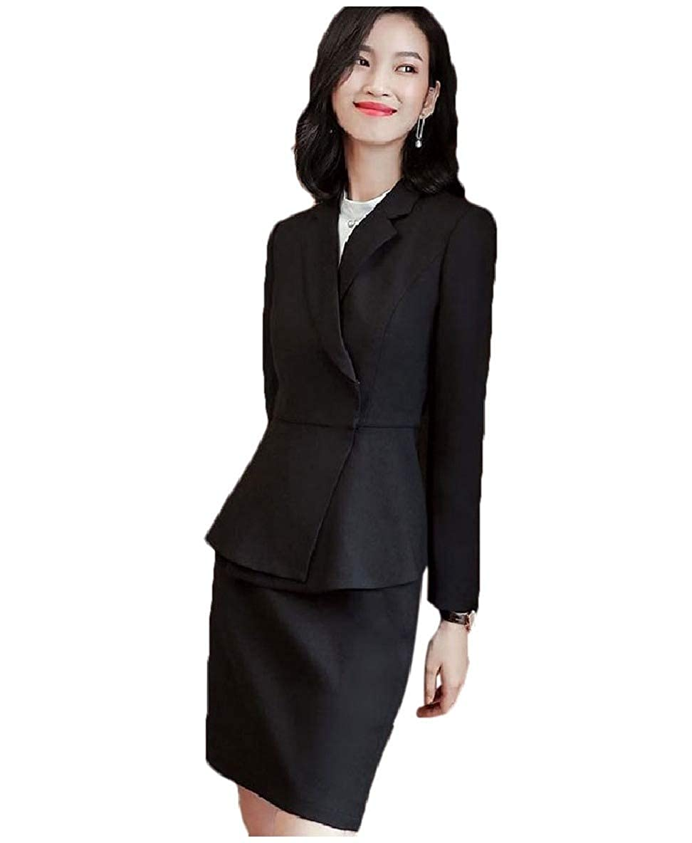 2 Vska Women Work Office Pants Skirts Buttonless Blazer 2 Pieces Suit