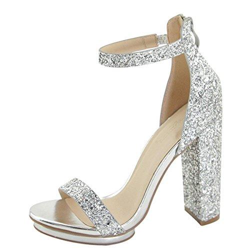 Toe Elastic Ankle Strap Metallic Glitter High Heel Platform Pump Sandals 8.5 Silver ()