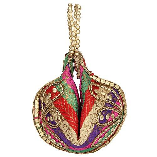 Bangle Potli Bag/Wristlet/Wedding Hand Bag with Brocade Beads - MULTICOLOR