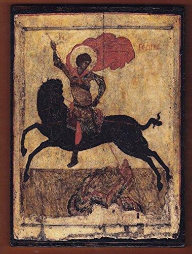 Icon George (St.George οn a black horse, Byzantine icon.)
