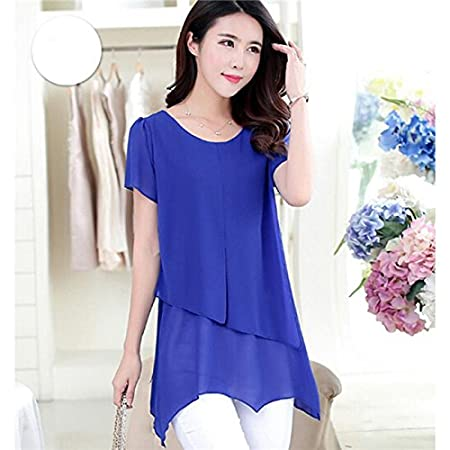 Yinew Damen Chiffon Shirt im Langen Abschnitt Kurzarm T Shirt Damen Shirt Einfache Shirt Blau S