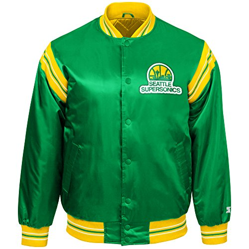STARTER NBA Seattle Supersonics Youth Boys The Enforcer Retro Satin Jacket, X-Large, Green