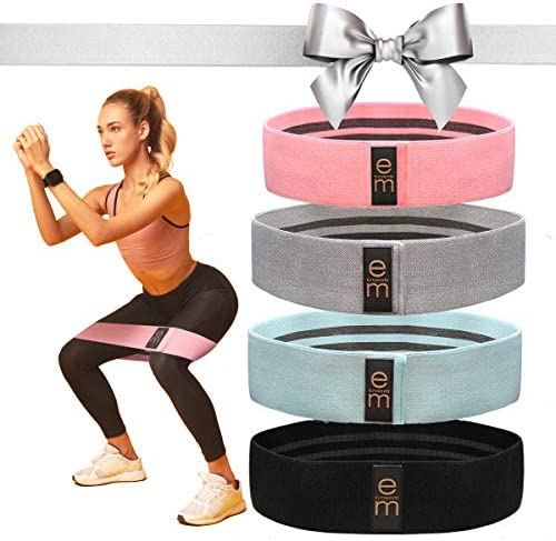 [4 Pack] Fabric Resistance Band Set - 3 Varied Tensions [2021 Upgrade] / Resistance Bands for Legs and Butt - for Men & Women / Versatile Work Out Bands / Leg Resistance Bands for All Body Types