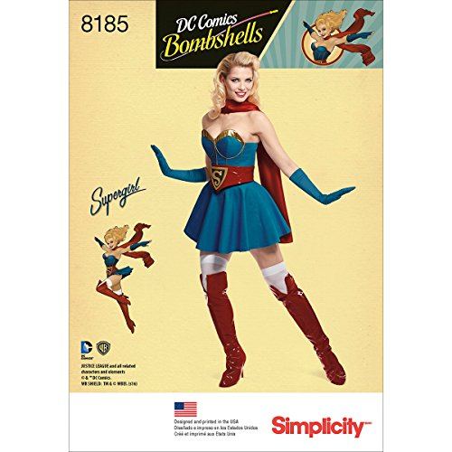Simplicity D.C. Comics Bombshells 8185 Supergirl Women's Halloween Costume Sewing Pattern for Women in Sizes H5 (6-14) -