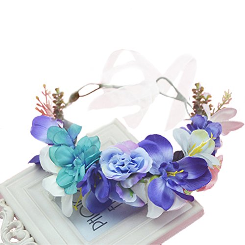 Vivivalue Flower Wreath Headband Crown Floral Garland with Ribbon Boho for Festival Wedding Blue