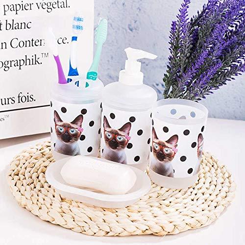 Bathroom Accessories Set of 4pcs Wise Cat Kitty Flower Classic Letter Lotion Dispenser Tumbler Soap Dish Bath Decoration (Cat) ()