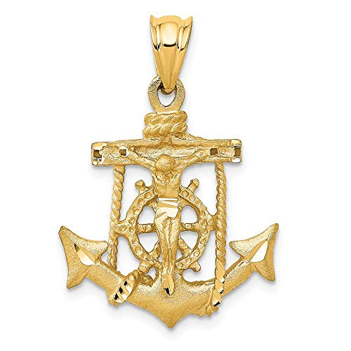 - 14k Yellow Gold Mariners Cross Pendant