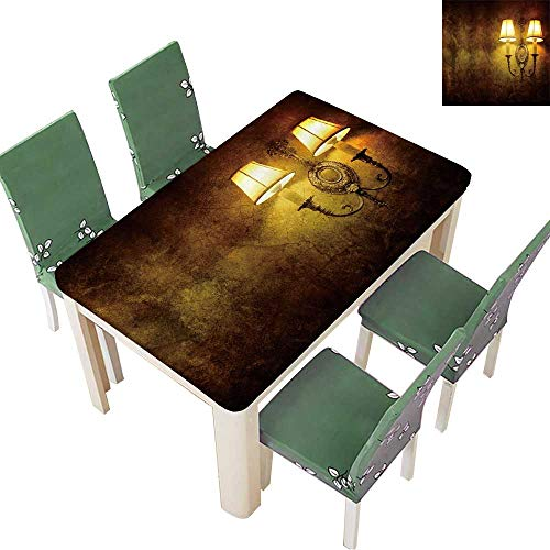 Printsonne Indoor/Outdoor Polyester Tablecloth Vintage Wall lamp Wedding Party 52 x 108 Inch (Elastic - Lamp Italian Horn