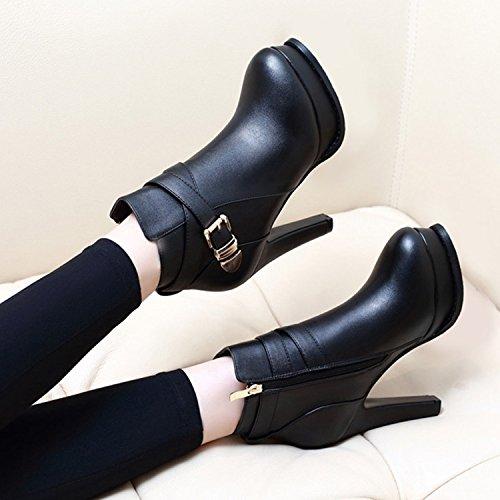 Mit Stiefel Wasserdicht Alle Dicken black Schuhe Martin Stiefel Stiefel Einheitlichen Im Hochhackige Mit KHSKX Winter Fqwp58w