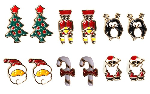 VK Accessories Christmas Theme Earring Studs 6 Pairs per Set Santa Ornament Studs, Reindeer Earring as Xmas Gift (Online Xmas Gifts)
