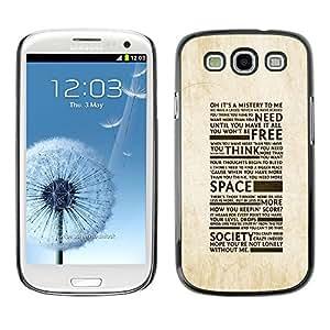 TopCaseStore / la caja del caucho duro de la cubierta de protección de la piel - Freedom Of Society Typography - Samsung Galaxy S3 I9300
