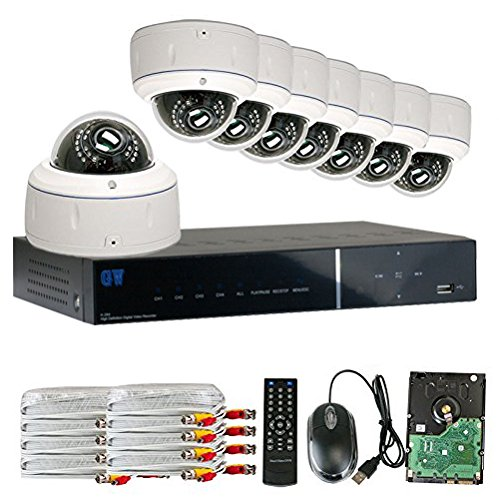 GW Security 8CH HD DVR Security System, QR-Code Connection, 8 Day Night 1600TVL High Resolution Weatherproof 2.8~12mm Varifocal Dome Cameras CCTV Surveillance System 2TB HDD