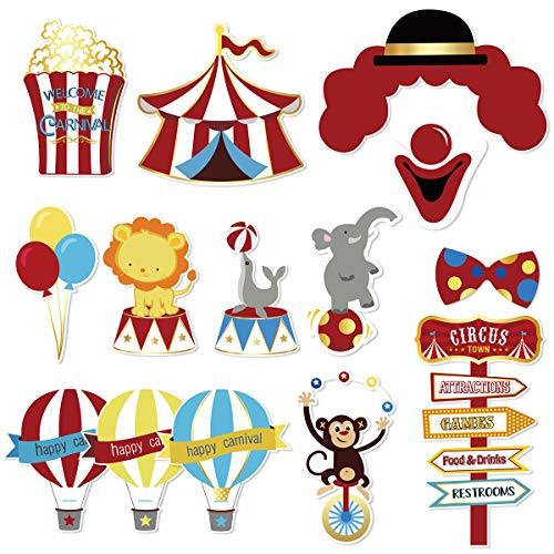 NICROLANDEE Carnival Cutouts Photo Booth Prop, Circus Theme Party Supplies for Kids Birthday Baby Shower Bachelorette Dress-up Acessories -