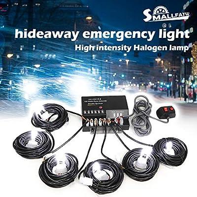 SmallFatW 6 HID Bulbs 120w Hide-a-way Emergency Hazard Warning Headlight Truck Strobe Light Kit System (White): Automotive