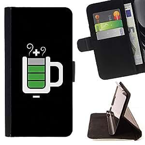 For Samsung Galaxy S4 IV I9500 Case , Full Service Taza Negro Es- la tarjeta de Crédito Slots PU Funda de cuero Monedero caso cubierta de piel