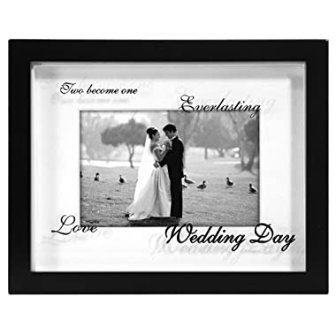 Malden International Designs Wedding Shadow Box Reflections Picture Frame, 4 by 6-Inch, Matted Black