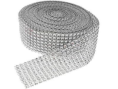 "HuanX35 Silver Diamond Rhinestone Bling Ribbon Roll 30 Feet (1.5""x10 Yards)"