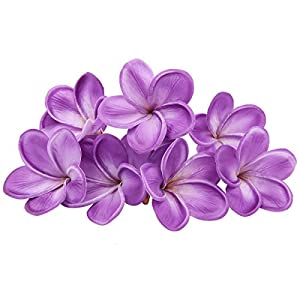 Unigift Bunch of 10 PU Real Touch Lifelike Artificial Plumeria Frangipani Flower Without The twig Bouquets Wedding Flowers Home Party Decoration (Purple) 1